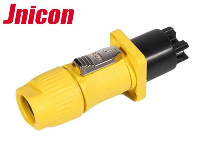 IP44 / IP65 Waterproof Electrical Plug Connectors Yellow And Black Shell